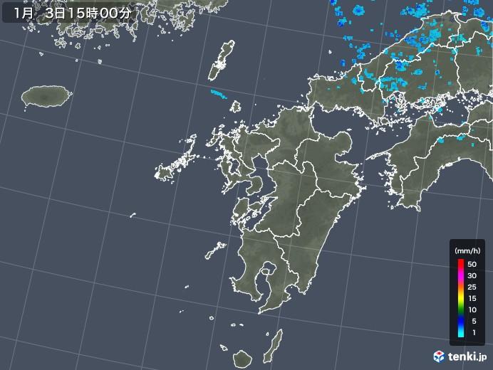 九州地方の雨雲レーダー(2018年01月03日)