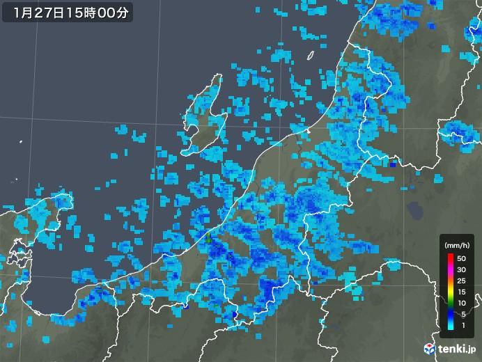 新潟県の雨雲レーダー(2018年01月27日)