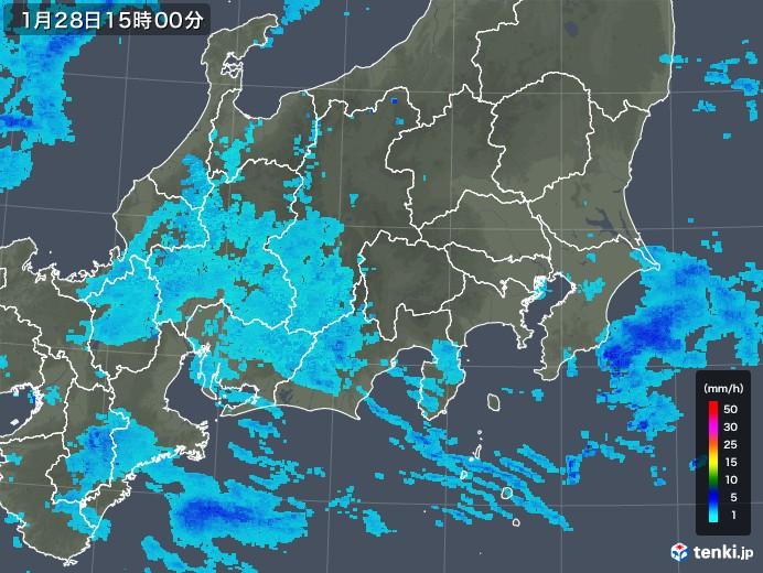 関東・甲信地方の雨雲レーダー(2018年01月28日)