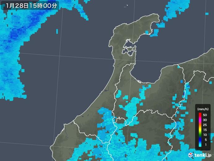 石川県の雨雲レーダー(2018年01月28日)