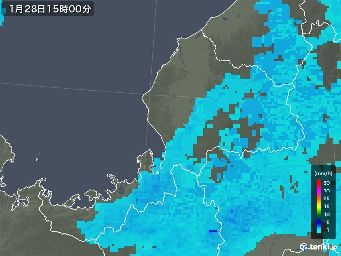 福井県の雨雲レーダー(2018年01月28日)