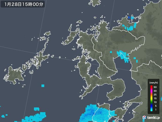 長崎県の雨雲レーダー(2018年01月28日)