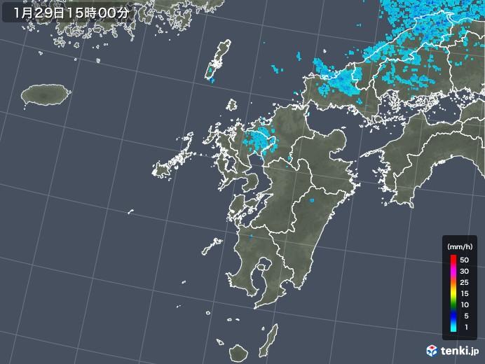 九州地方の雨雲レーダー(2018年01月29日)