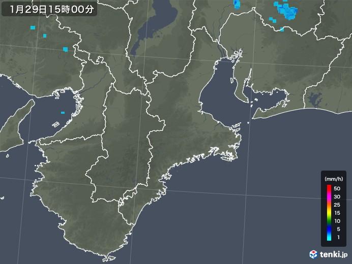三重県の雨雲レーダー(2018年01月29日)