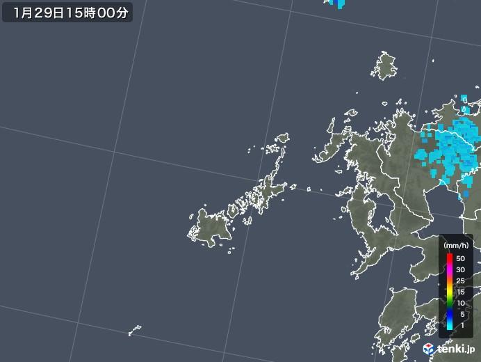 五島列島(長崎県)の雨雲レーダー(2018年01月29日)