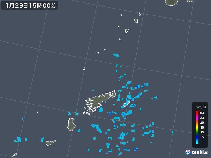 奄美諸島(鹿児島県)の雨雲レーダー(2018年01月29日)