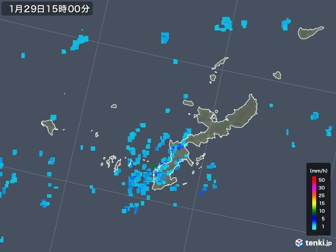 沖縄県の雨雲レーダー(2018年01月29日)