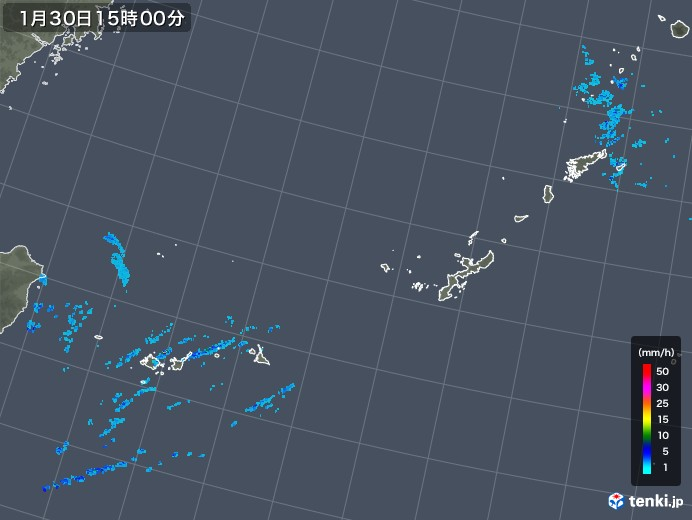沖縄地方の雨雲レーダー(2018年01月30日)