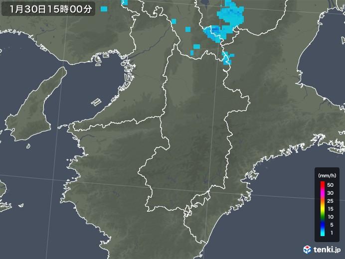 奈良県の雨雲レーダー(2018年01月30日)