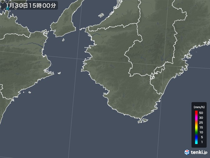和歌山県の雨雲レーダー(2018年01月30日)