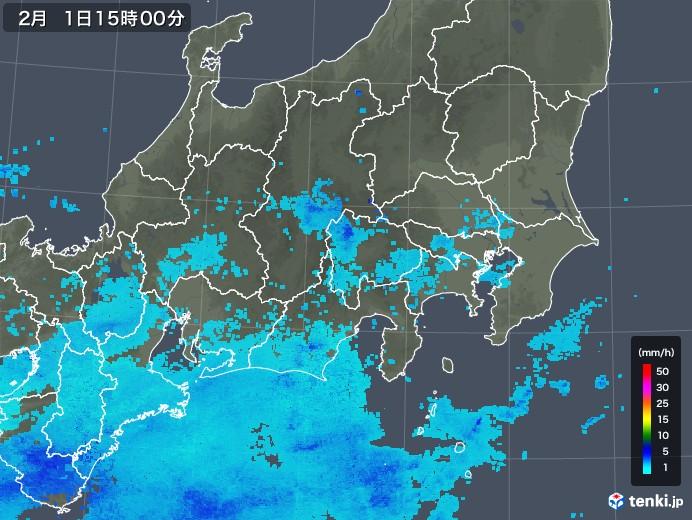 関東・甲信地方の雨雲レーダー(2018年02月01日)
