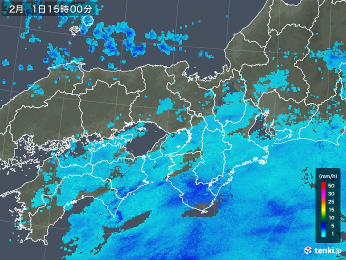 近畿地方の雨雲レーダー(2018年02月01日)