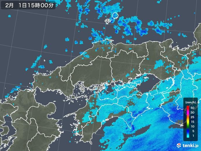 中国地方の雨雲レーダー(2018年02月01日)