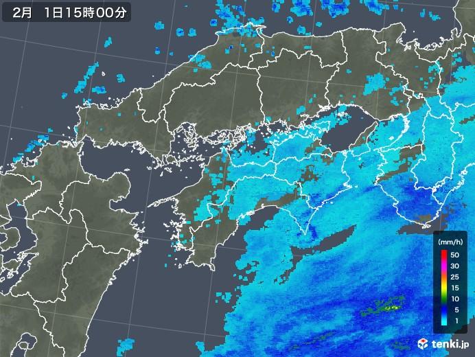 四国地方の雨雲レーダー(2018年02月01日)