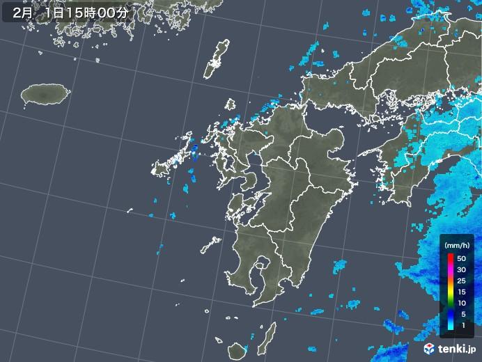 九州地方の雨雲レーダー(2018年02月01日)