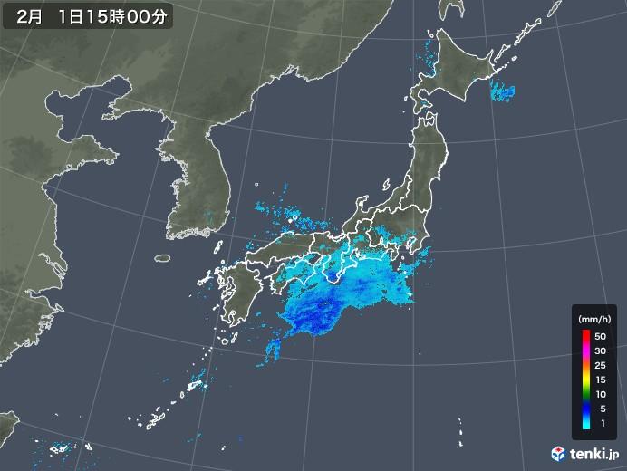 雨雲レーダー(2018年02月01日)