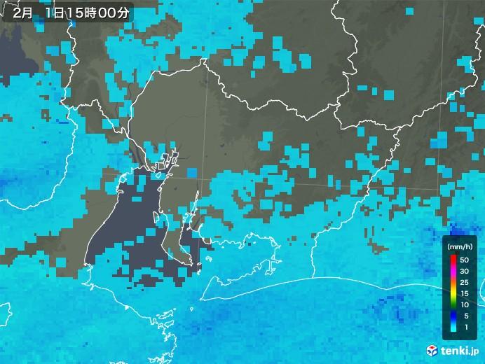 愛知県の雨雲レーダー(2018年02月01日)