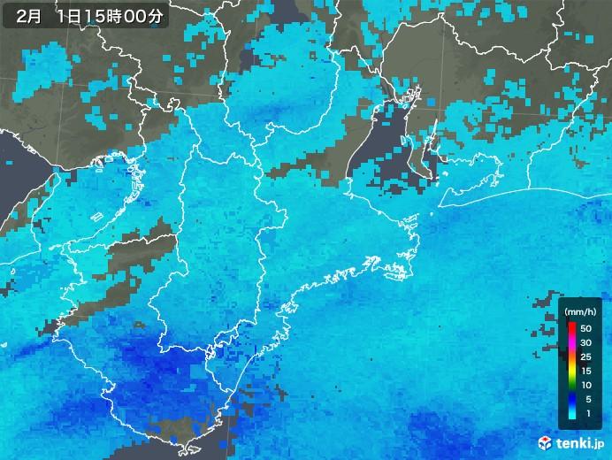 三重県の雨雲レーダー(2018年02月01日)