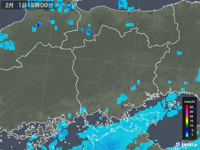 岡山県の雨雲レーダー(2018年02月01日)
