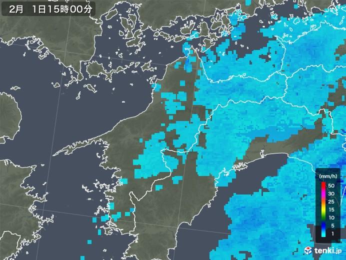 愛媛県の雨雲レーダー(2018年02月01日)