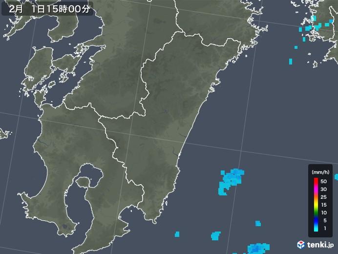 宮崎県の雨雲レーダー(2018年02月01日)
