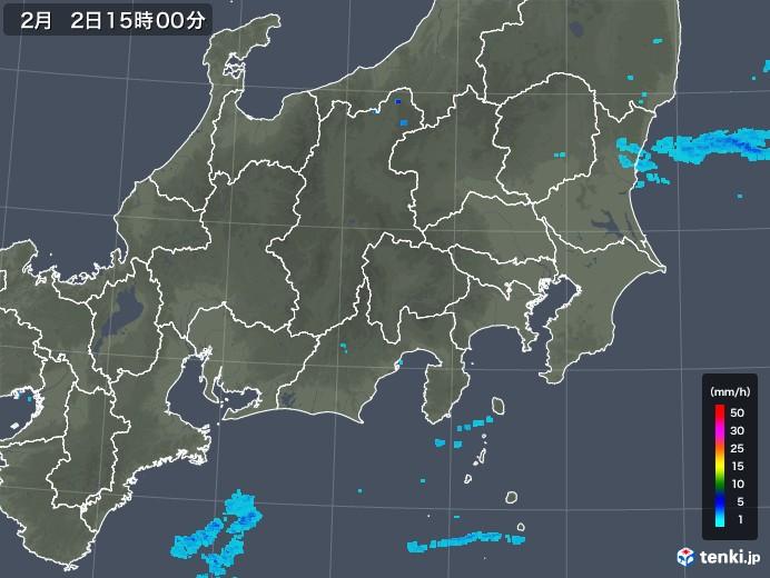関東・甲信地方の雨雲レーダー(2018年02月02日)