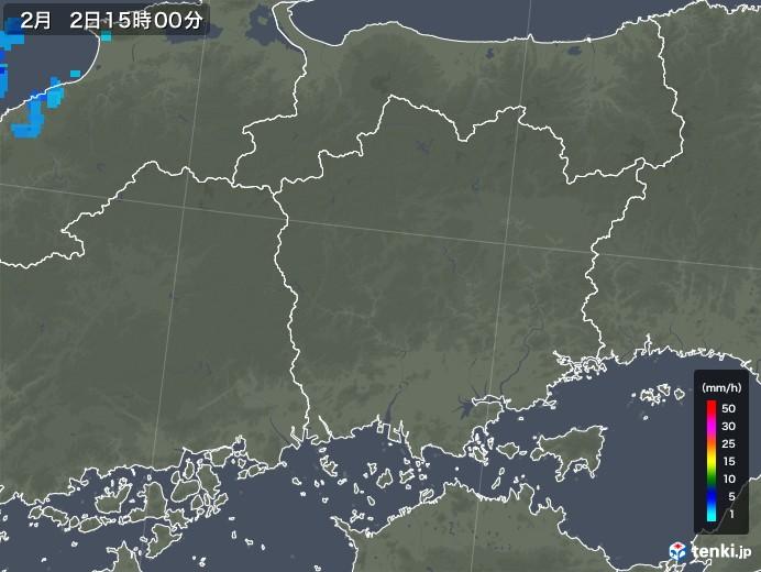 岡山県の雨雲レーダー(2018年02月02日)