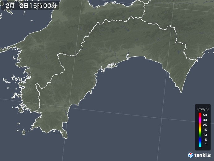高知県の雨雲レーダー(2018年02月02日)