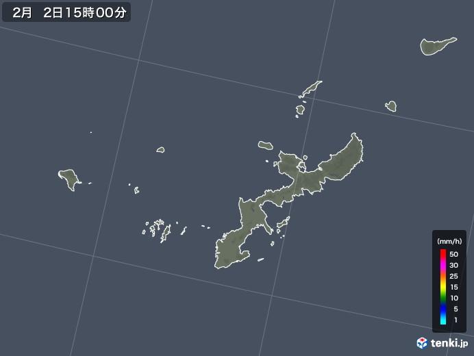 沖縄県の雨雲の動き(2018年02月02日)