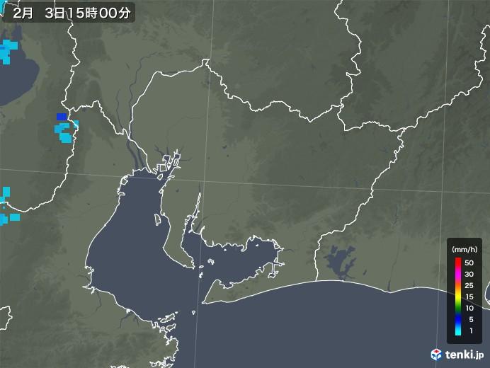 愛知県の雨雲レーダー(2018年02月03日)