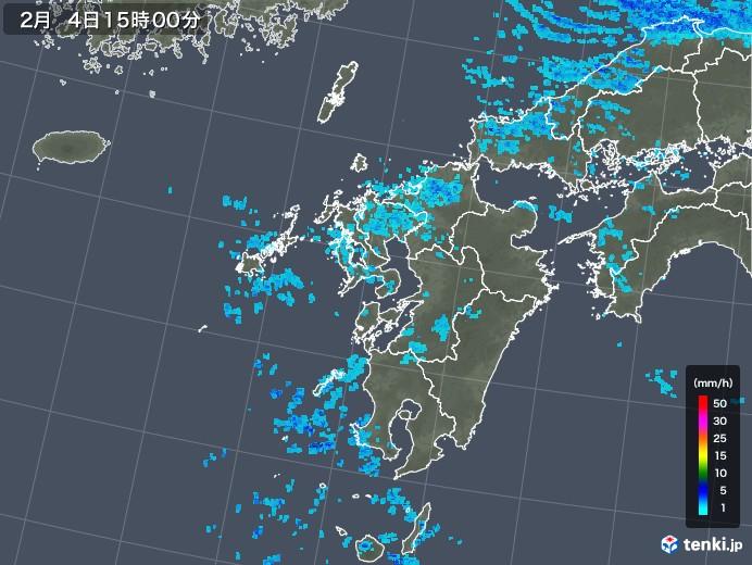 九州地方の雨雲レーダー(2018年02月04日)