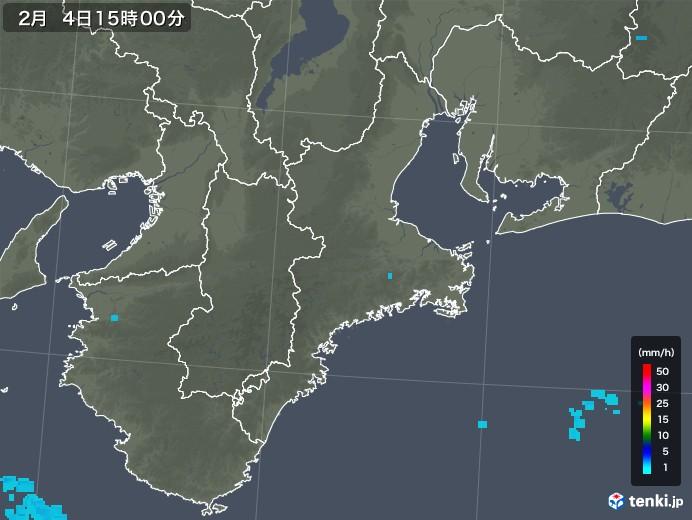 三重県の雨雲レーダー(2018年02月04日)