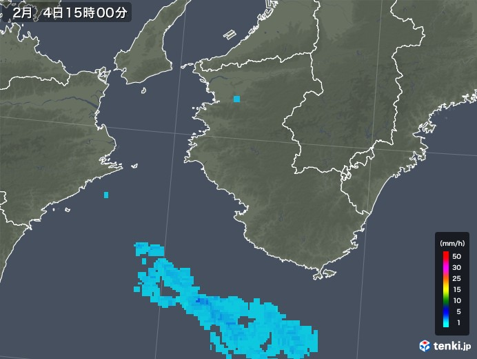 和歌山県の雨雲レーダー(2018年02月04日)