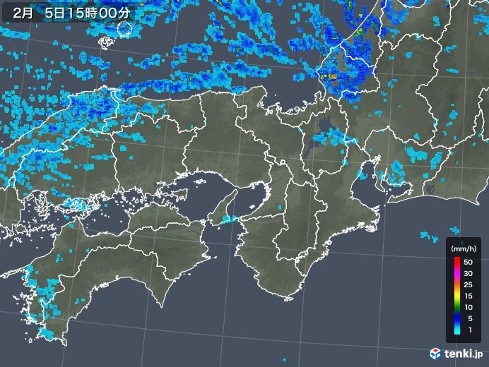 近畿地方の雨雲レーダー(2018年02月05日)