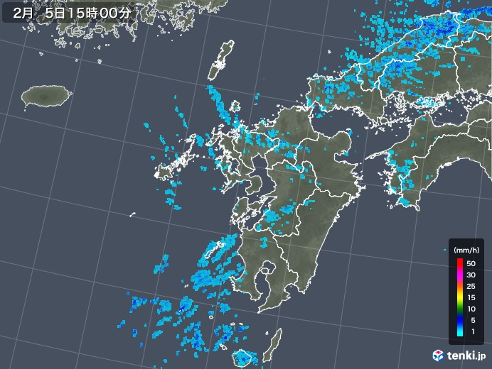 九州地方の雨雲レーダー(2018年02月05日)