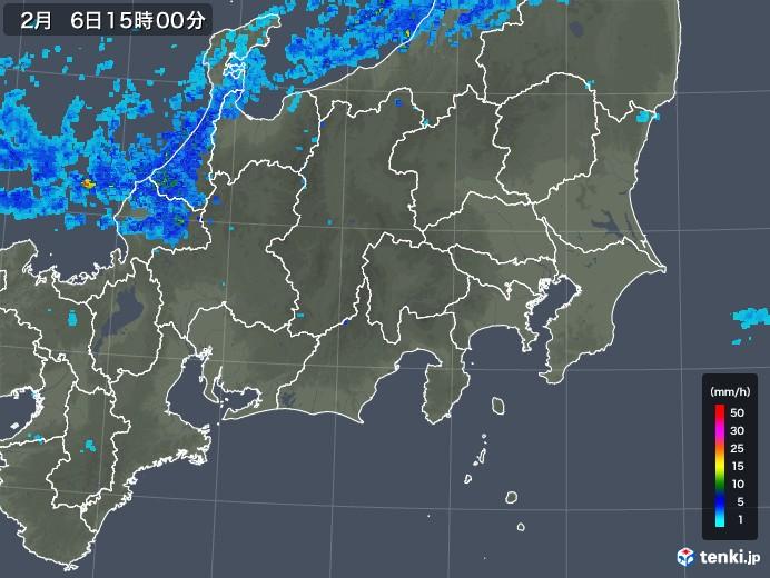 関東・甲信地方の雨雲レーダー(2018年02月06日)