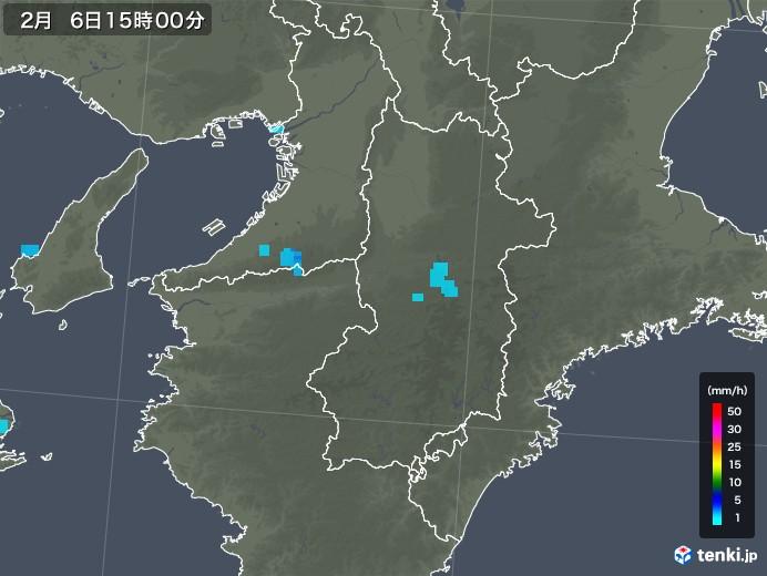 奈良県の雨雲レーダー(2018年02月06日)