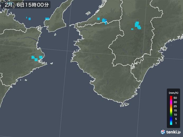和歌山県の雨雲レーダー(2018年02月06日)