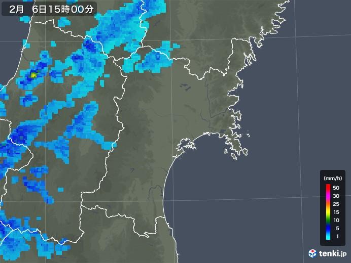 宮城県の雨雲レーダー(2018年02月06日)