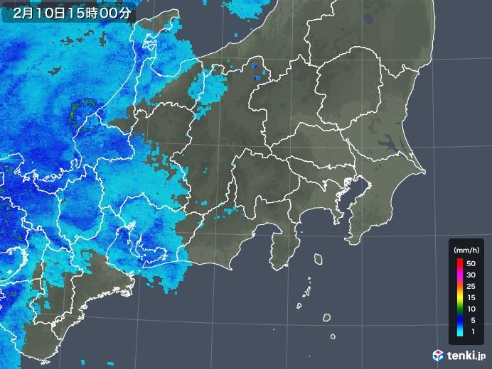 関東・甲信地方の雨雲の動き(2018年02月10日)
