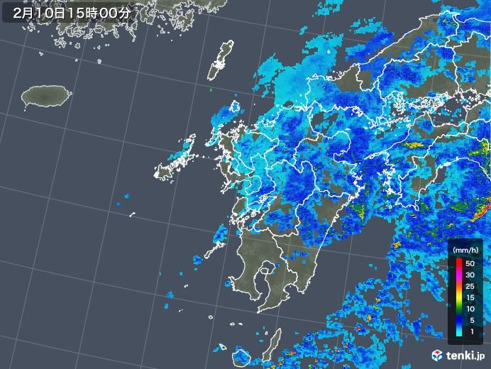 九州地方の雨雲レーダー(2018年02月10日)
