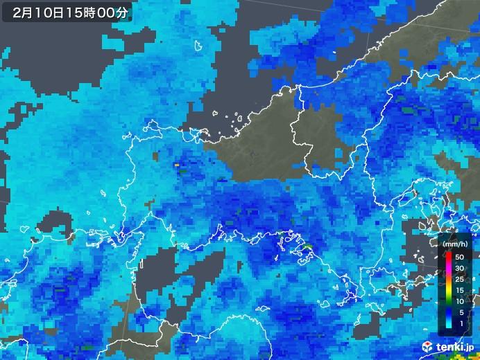 山口県の雨雲レーダー(2018年02月10日)