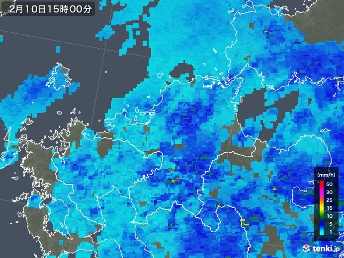 福岡県の雨雲レーダー(2018年02月10日)