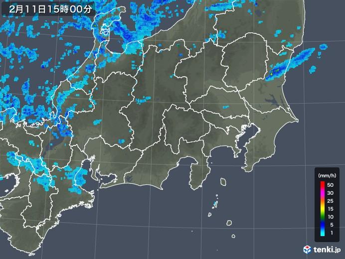関東・甲信地方の雨雲レーダー(2018年02月11日)