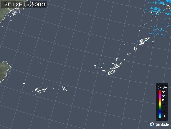沖縄地方の雨雲レーダー(2018年02月12日)