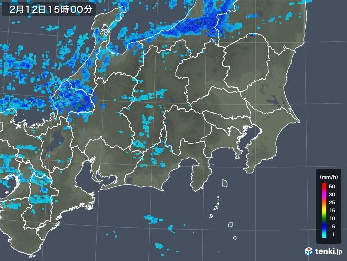関東・甲信地方の雨雲レーダー(2018年02月12日)