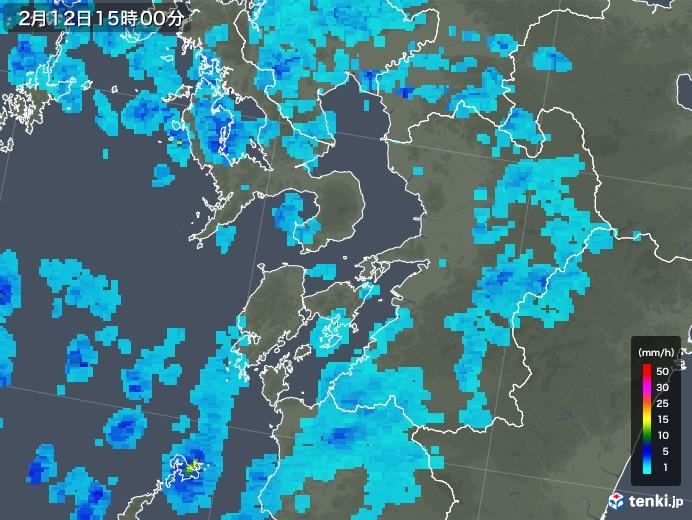 熊本県の雨雲レーダー(2018年02月12日)