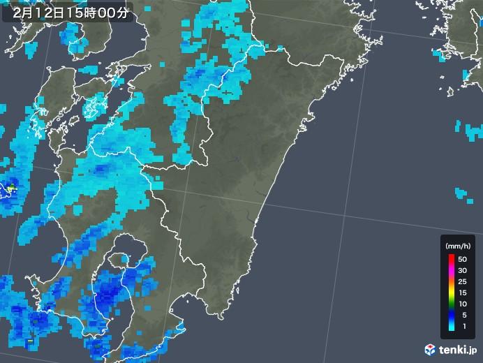 宮崎県の雨雲レーダー(2018年02月12日)