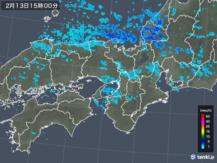 近畿地方の雨雲レーダー(2018年02月13日)