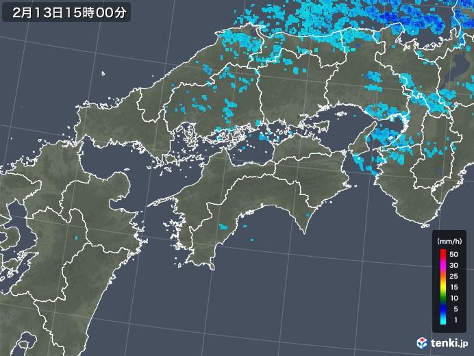 四国地方の雨雲レーダー(2018年02月13日)